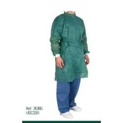 Bata Quirurgica Verde Plastificada con Puños Algodon 10 uds - Favesam
