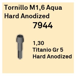 Tornillo M1,6 Aqua Hard Anodized Cónica Interna